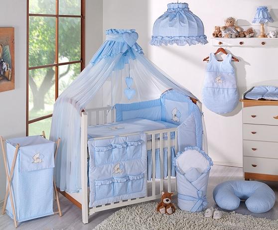 Luxusná 5-dielná sada s moskytiérou - LOVE modrý