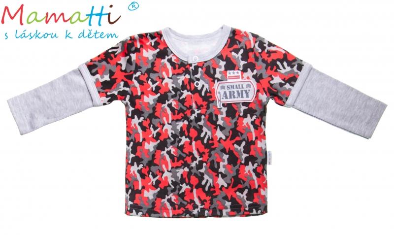 Bavlnené tričko / polo Mamatti - ARMY, 98 (24-36m)
