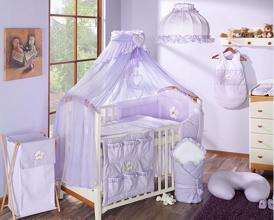Luxusná 5-dielna sada s moskytiérou - LOVE fialová, 120x90 cm