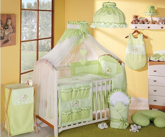 Luxusná 5-dielná sada s moskytiérou - LOVE zelený