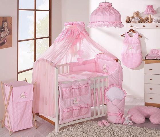 Luxusná 5-dielná sada s moskytiérou - LOVE ružový