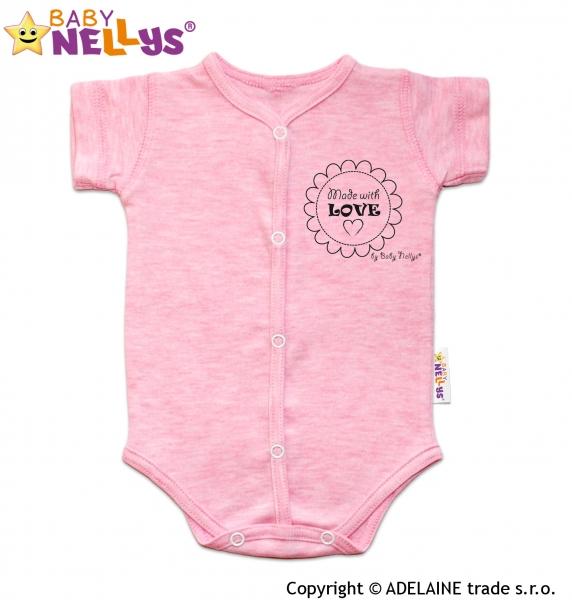 7df199e04 Body krátky rukáv Baby Nellys® sv. ružové (melírek) | Babysvet ...