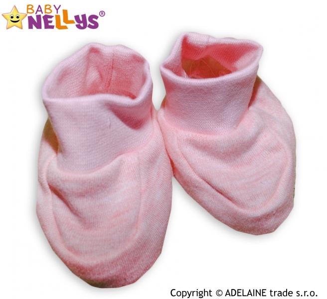Topánočky / ponožtičky Baby Nellys ® - sv. ružové (melírek)