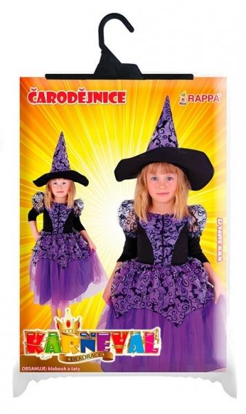 Rappa Karnevalový kostým čarodejnice fialová s rukávmi, veľ. S