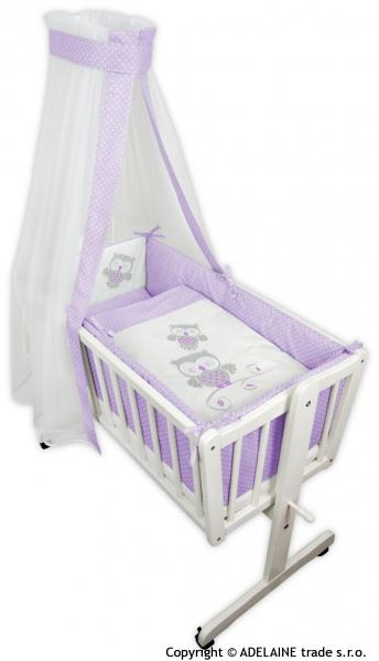 Drevená kolíska s plnou výbavou - sovička v lila (fialové)