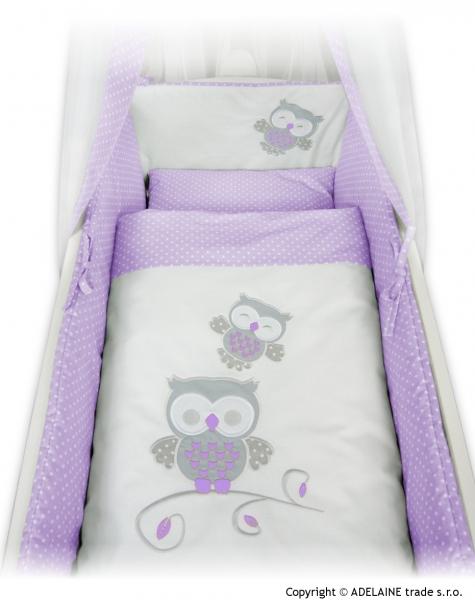 NELLYS Drevená kolíska s plnou výbavou - sovička v lila (fialové)
