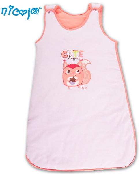 Spací vak velúrový Veselá veverička -SV. ružový