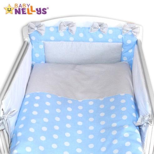 Mantinel s obliečkami Mašlička - Bubble modré / jemné šedé prúžky