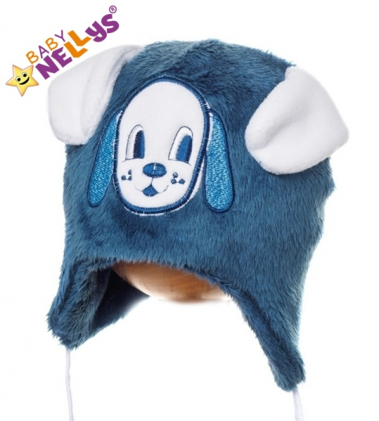 Zimná čiapočka Psík s uškami - tm. modrá