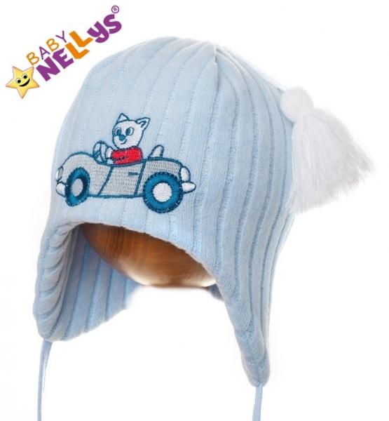 Zimná čiapočka Autíčko s brmbolcami - SV-modrá