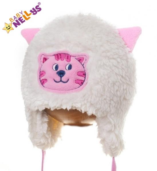 Zimná čiapočka Mačička - smotanová