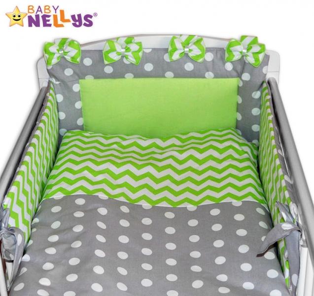 Mantinel s obliečkami Mašlička - Bubble sivá / zigzag zelený