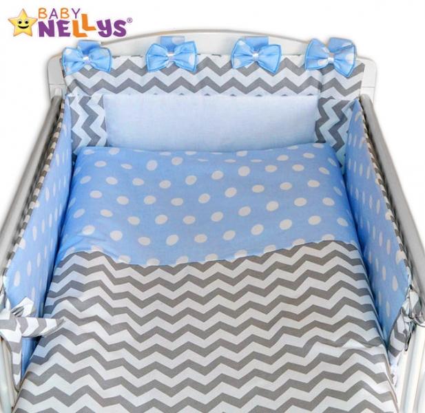 Mantinel s obliečkami Mašlička - Zigzag sivý / bubble modré