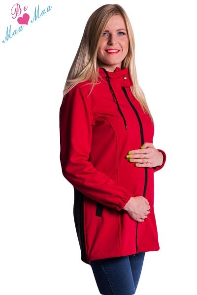 Tehotenská softshellová bunda, kabátik - červená