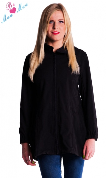 Tehotenská softshellová bunda, kabátik - čierna