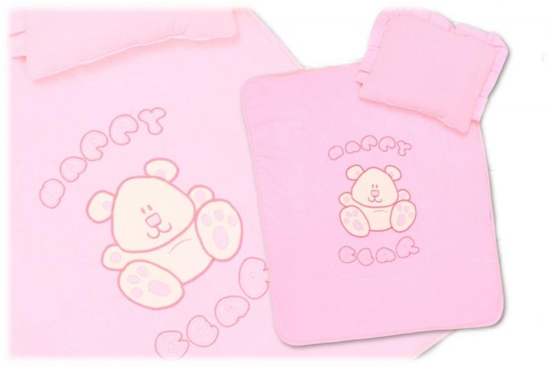 Sada do kočíka velúr - Happy Bear - ružová