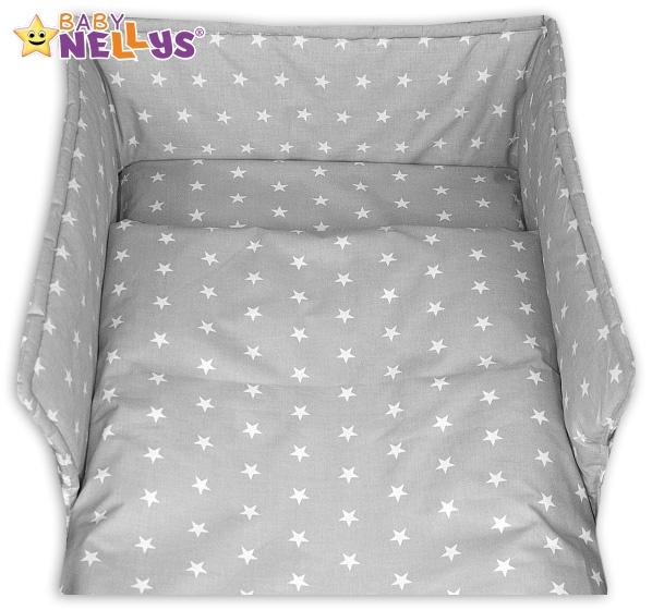 Mantinel s obliečkami - Hviezdy v šedej-120x90