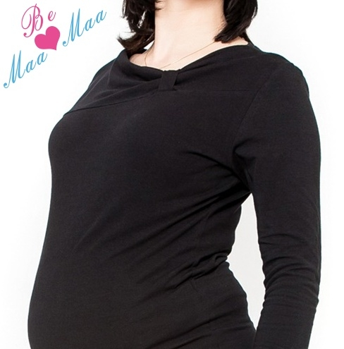 Tehotenské tričko dl. rukáv Vanessa - čierne
