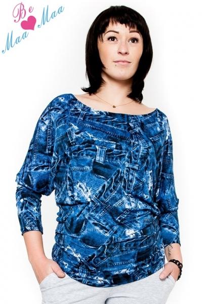 Be MaaMaa Tehotenské štýlové tričko, blúzka s JEANS vzorom-L/XL