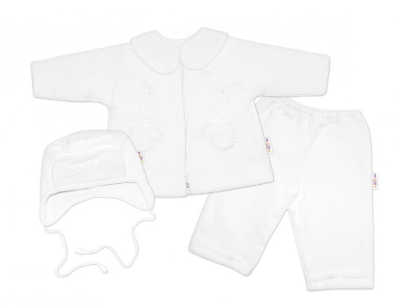 Kabátik, čiapočka a nohavice Baby Nellys ®- biela-#Velikost koj. oblečení;74 (6-9m)