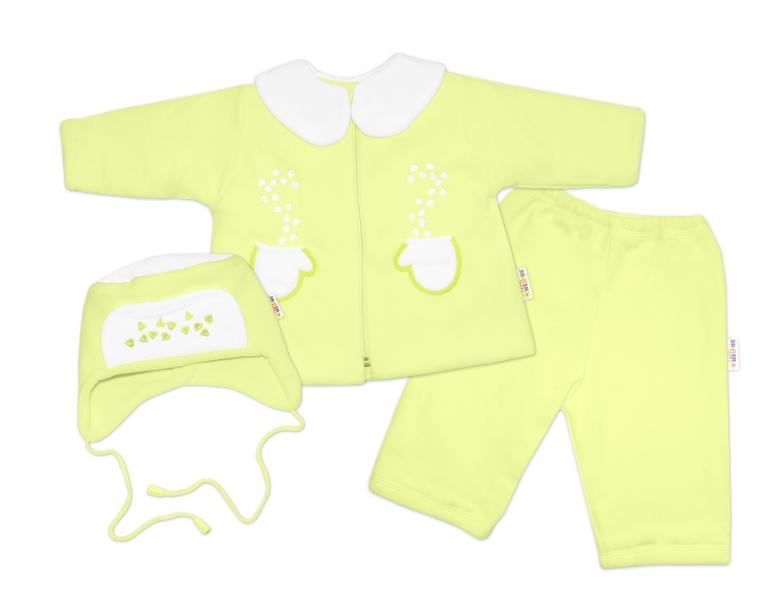 Kabátik, čiapočka a nohavice Baby Nellys ®- zelená-#Velikost koj. oblečení;62 (2-3m)