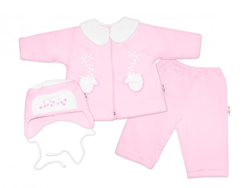 Kabátik, čiapočka a nohavice Baby Nellys ®- sv. ružová