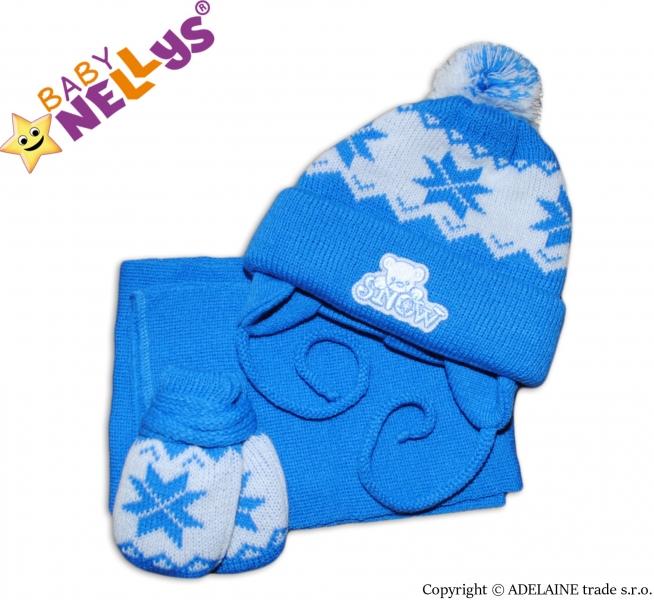 Sada - čiapočka, šál a rukavičky hviezdička / MACKO - modrá