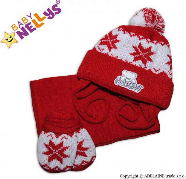 Sada - čiapočka, šál a rukavičky hviezdička / MACKO - červená