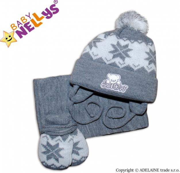 Sada - čiapočka, šál a rukavičky hviezdička / MACKO - šedá