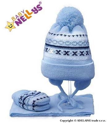 Sada - čiapočka, šál a rukavičky - vzorovaná modrá