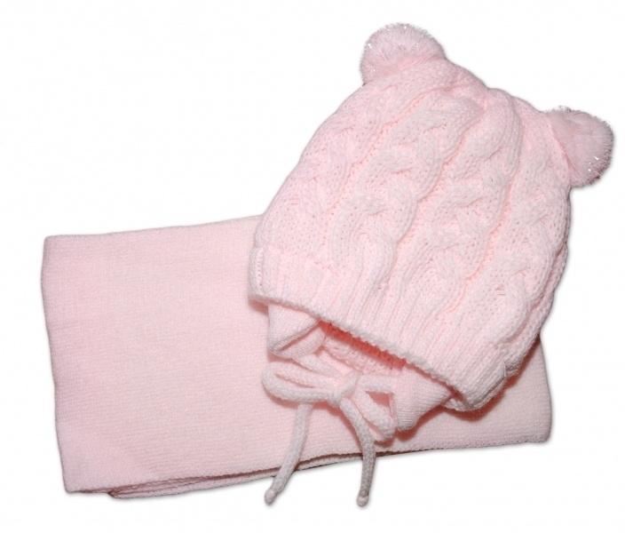 BABY NELLYS Zimná pletená čiapočka s šálom TEDDY s brmbolcami - sv. ružová, vel. 2-8m