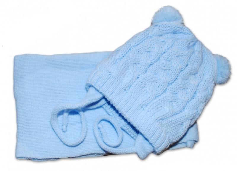 BABY NELLYS Zimná pletená čiapočka s šálom TEDDY - modrá s brmbolcami, vel. 2-8m