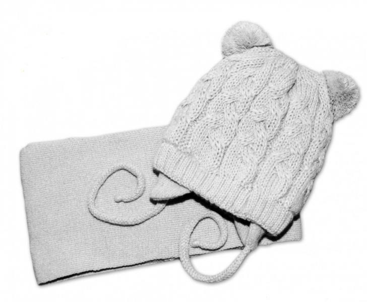 BABY NELLYS Zimná pletená čiapočka s šálom TEDDY - sivá s brmbolcami, vel. 2-8m