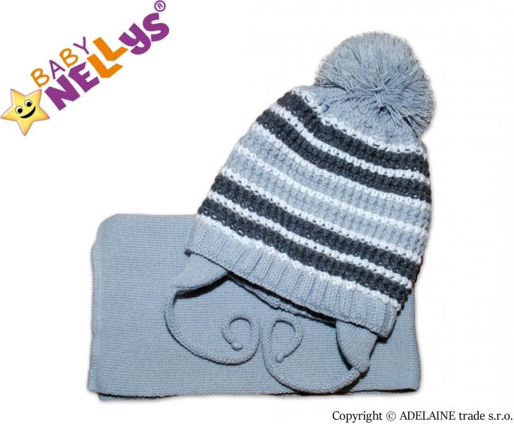 Zimná pletená čiapočka so šálom - pruhovaná sivá