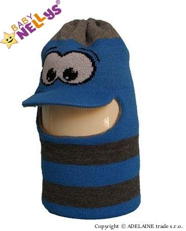 Zimná čiapočka / kukla - modrá s očami