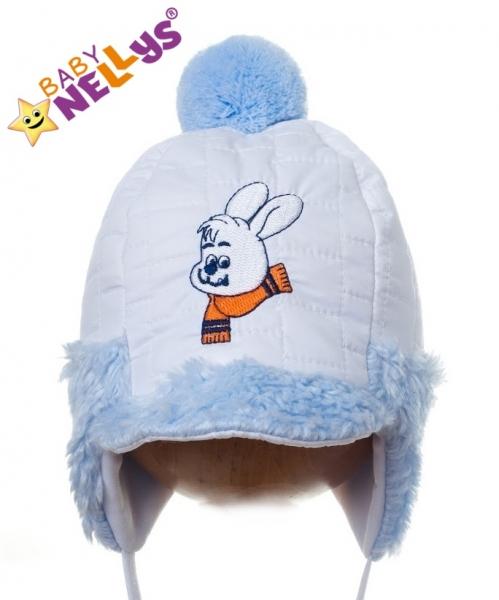 Zimná čiapočka Baby Nellys® - Zajačik modrý kožúšok