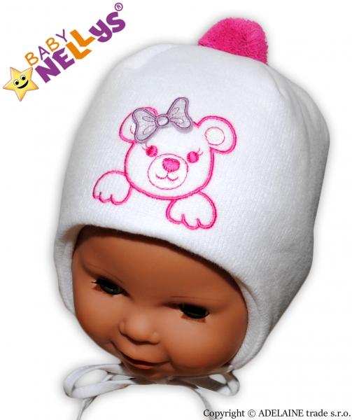 Zimná čiapočka Medvedík s mašličkou Baby Nellys ®- biela