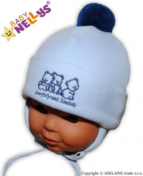 Zimná čiapočka Medvedíky Baby Nellys ®- sv. modrá s brmbolcom