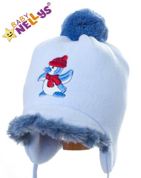 Zimná čiapočka Tučnáček so šiltom - sv. modrá