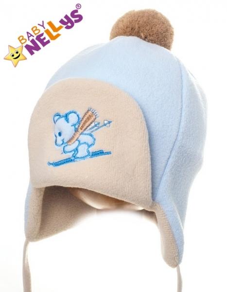 Zimná čiapočka Myška - sv.modrá / béžová