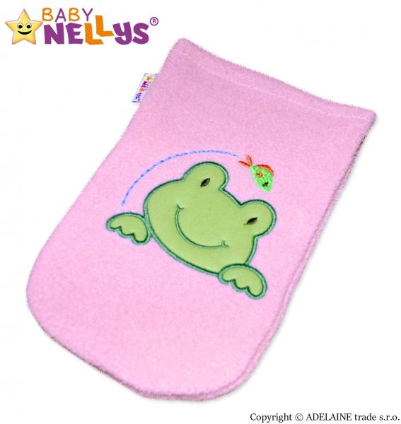 Žinka froté s výšivkou Žabka Baby Nellys ® - ružová