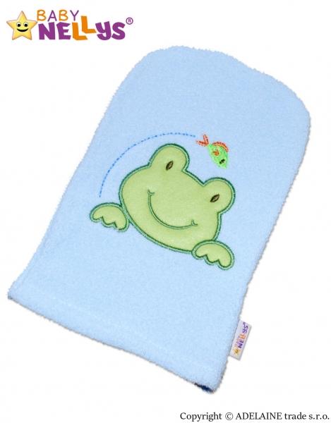 Žinka froté s výšivkou Žabka Baby Nellys ® - modrá
