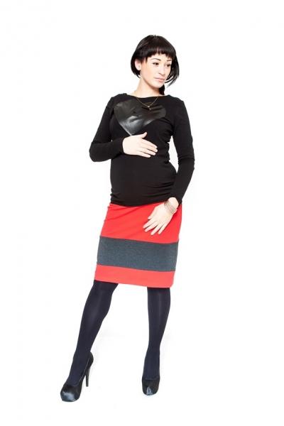 Tehotenská sukňa Be Maamaa - LORA červená / grafit