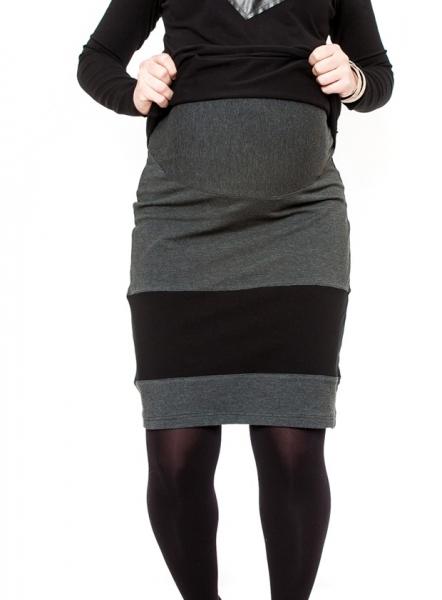 Tehotenská sukňa LORA čierna/grafit
