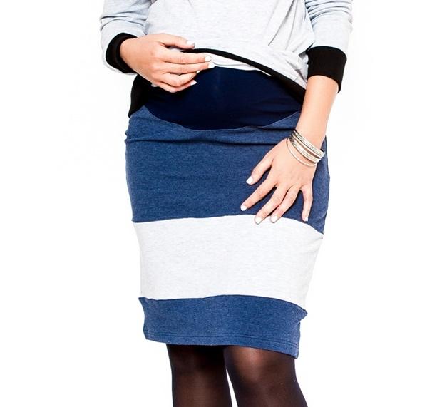 Tehotenská sukňa LORA jeans/sv. šedé