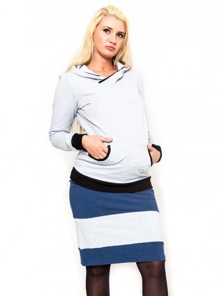 Tehotenská sukňa Be Maamaa - LORA jeans / zv. šedé-M