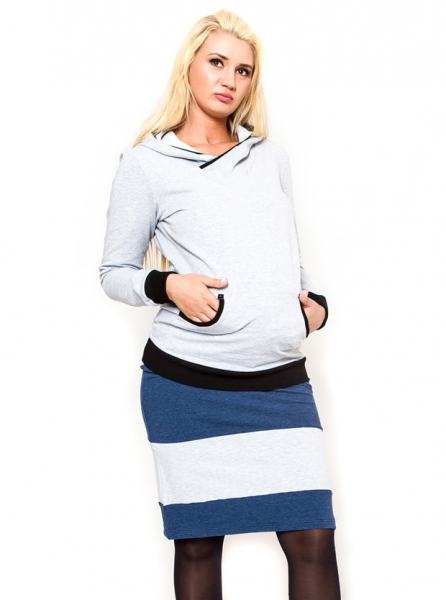 Tehotenská sukňa Be Maamaa - LORA jeans / zv. šedé