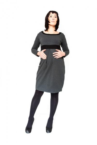 Be MaaMaa Tehotenské šaty / tunika ORA - grafit-S/M