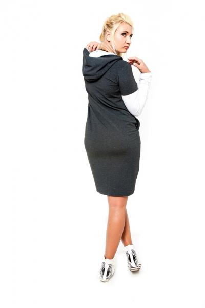 Tehotenské šaty s kapucňou RIA - grafit