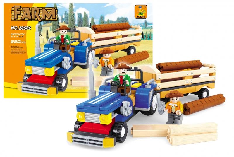 Stavebnica Ausin farma traktor s vlečie. 220 dielov